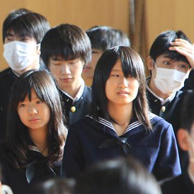 Haramachi High School's Students in Minamisoma, Fukushima go to their own school for the first time since the quake and tsunami occurred (Getty)