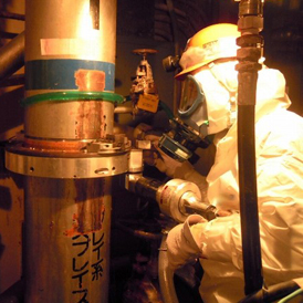 A worker inside the Fukushima nuclear plant (TEPCO)