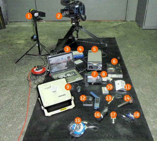 Cameraman Stuart Webb's kit.