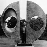Harold Sebag-Montefiore of the GLC inspects the sculpture in 1970