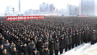 north koreans mark the memorial service for Kim Jong-il (Reuters)
