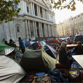 Protesters outside St Paul's cathedral (Getty)
