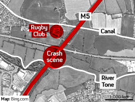 The location of the M5 pile-up