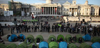 The brief 'occupation' of Trafalgar Square during the student protests (Getty)