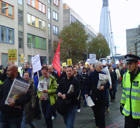 Electricians march near the Shard (Unite pic)
