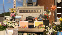 Soft toys, drinks and letters form a shrine outside Okawa primary. This school suffered the single biggest loss of children's lives in the 11 March tsunami.