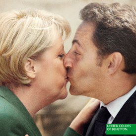 Furore over images like this of Merkel and Sarkozy is not new for Benetton (United Colors of Benetton)