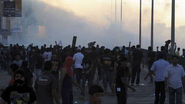 Protesters at the funeral of a 16 year old boy killed in Sitra on Friday (Friday)