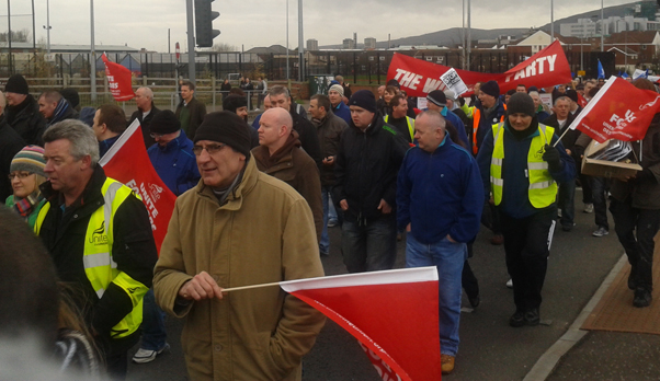Protesters on Grosvenor Road Belfast