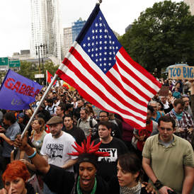 More than 700 people have been arrested during anti Wall Street protests in the US. (Getty)