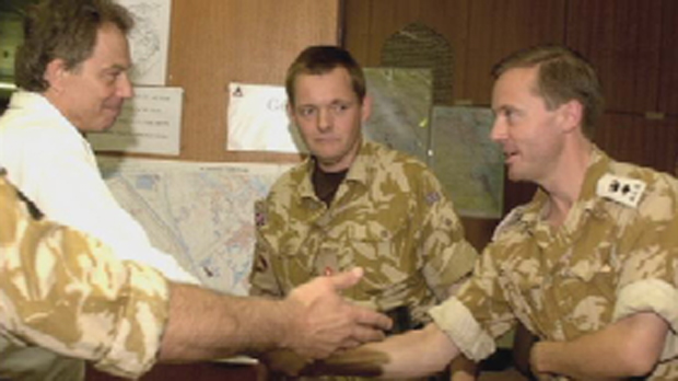 Lt Col Mercer (right) meeting Tony Blair