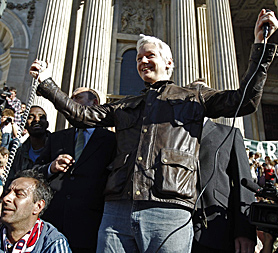 Julian Assange at the Occupy London Stock Exchange protest (Image: Getty)