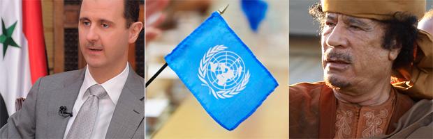 President Assad, UN flag, Colonel Gaddafi (Getty, Reuters)