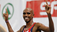 Britain's Mo Farah reacts winning the 3000m men's final at the European Athletics indoor championships in Paris