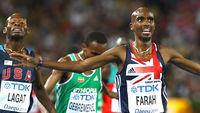 Britain's Mo Farah clinches gold in the 5,000 metres at the World Athletics Championships in Daegu, South Korea. Last week he was pipped to the silver medal in the 10,000 metres final (Getty)