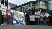 Protesters outside the Mark Haddock supergrass trial in Belfast