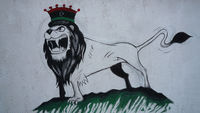 The lion of the desert:  crowned with the tricolour of King Idris, overthrown by Gaddafi in 1969. (Jonathan Miller)