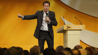 Nick Clegg addressing the party's conference in Birmingham (Reuters)
