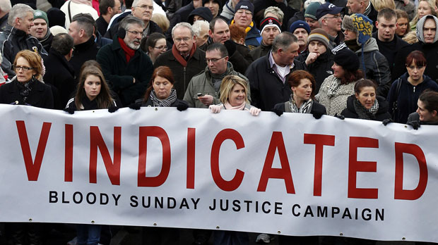 Bloody Sunday campaigners including former Sinn Fein President Gerry Adams (Reuters)