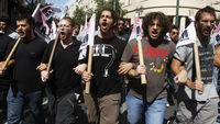 Students demonstrate against the Greek government's austerity cuts (Reuters)