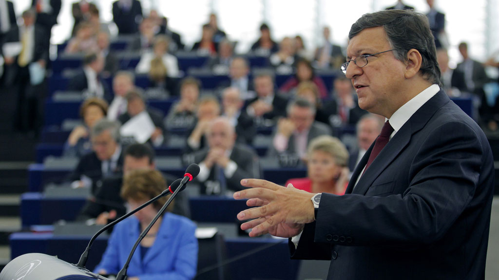European Commission President Jose Manuel Barroso tells MEPs the EU is facing the biggest challenge in its history (Reuters)