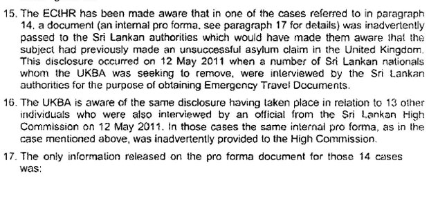 UKBA letter admitting disclosure of material to Sri Lankan government