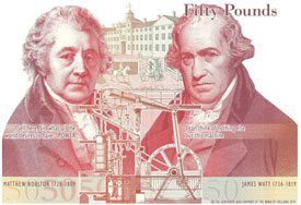 The Bank of England releases the design for the new £50 note, which features portraits and quotes from the 18th century business duo, Matthew Boulton and James Watt.
