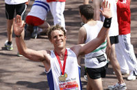 James Cracknell, the double Olympic gold medal winner with the British rowing team, continued his remarkable record of physical feats aiming to run a third sub-three hour marathon.