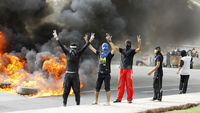 Demonstrators in Bahrain protest today's Grand Prix denouncing it as a gaudy spectacle, and continue to call for a change in government.