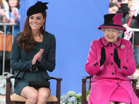 Catherine, Duchess of Cambridge and Queen Elizabeth II visit Leicester City as part of the Queen's Diamond Jubilee Tour on March 8, 2012 in Leicester (Getty).