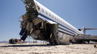 A Boeing 727 passenger jet is deliberately crash-landed in a remote Mexican desert.