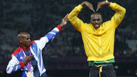 Mo Farah and Usain Bolt. (Reuters)