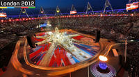 The Olympic Stadium is turned from an athletics track into a massive musical show, to celebrate the end of the London 2012 Olympics.