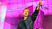 Damon Albarn performing with Blur at Hyde Park. (Getty)