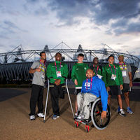 Brazilian Paralympic athletes outside the Olympic Stadium (Getty)
