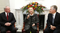 Speaking in Belfast, US Secretary of State Hillary Clinton says violence is