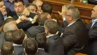 Fight breaks out in Ukraine's parliament - video
