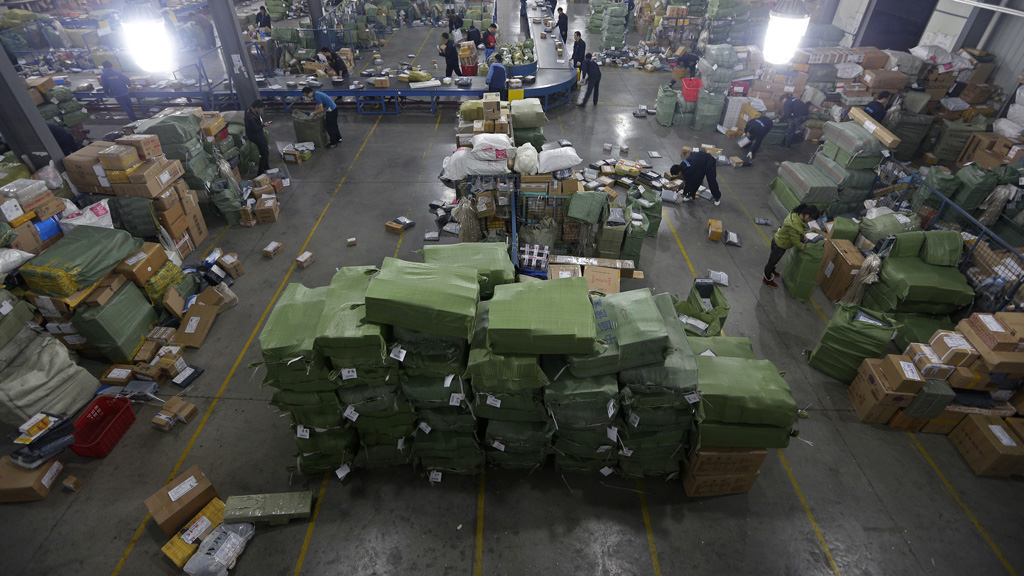 A warehouse full of parcels ready to send to online shoppers. (Reuters)
