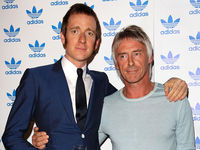 In natty blue suit with white button detail, Bradley pays his respects to the Modfather Paul Weller, former singer with The Jam and the Style Council.