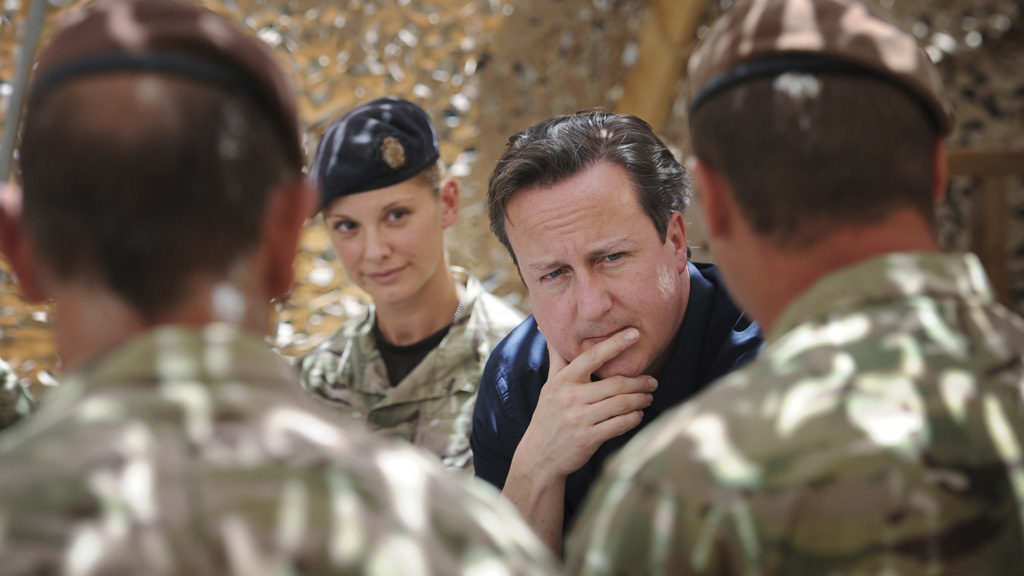 David Cameron meets troops in Afghanistan (pic: Reuters)