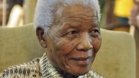 Former South African President Nelson Mandela smiles after casting his vote for elections at home in Houghton (Reuters)