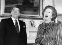 Margaret Thatcher with President Reagan. (Getty)