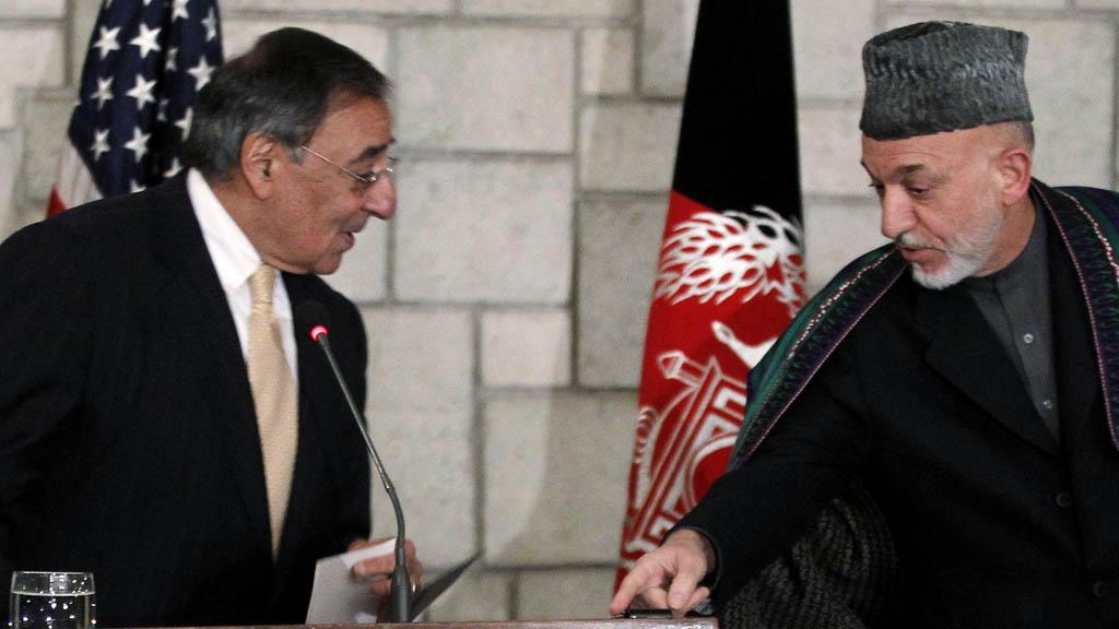 Leon Panetta meets Afghan President Hamid Karzai (Reuters)