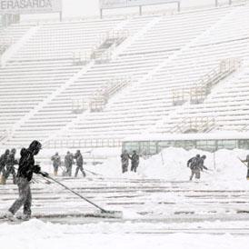 Snowy Football Pitch Bologna