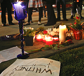 Makeshift tributes to Whitney Houston outside the Beverly Hilton where she died on February 11 2012 (Image: Reuters)