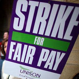 Unison strike placard (Getty)