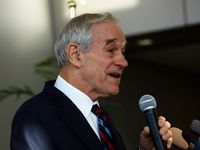 Republican candidate Ron Paul addresses supporters in Kirkwood, Iowa. (Tawanda Kanhema)