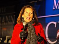 Michele Bachmann addresses supporters at her campaign headquarters in Des Moines, Iowa. (Tawanda Kanhema)
