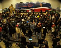Newt Gingrich speaks to supporters in Walford, Iowa. (Tawanda Kanhema)