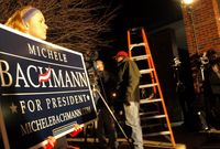 One of Michele Bachmann's campaign team members waits for her arrival for an event in Des Moines, Iowa. (Tawanda Kanhema)